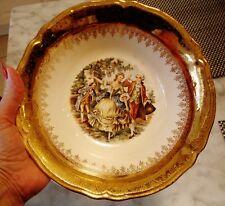 1948 Knowles Semi-Vitreous Victorian Couple 22Kt Gold Vogue Dinnerware Veg.Bowl