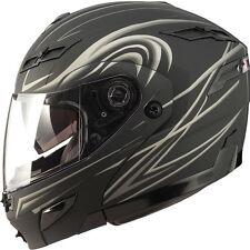Small GMAX GM54s FLAT BLACK DERK MODULAR  Helmet LED Motorcycle steert sm