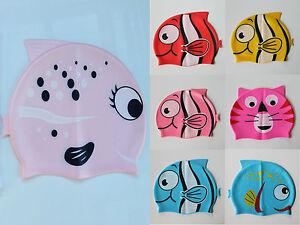 Learn to Swim Cap FISH silicone kids Boys Girls swimming cap bathing SMC05