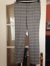 ZARA BLACK & WHITE TARTAN CHECKED TROUSERS SIZE S SMALL