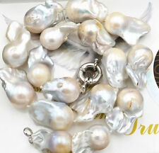 """New Real 15x18mm Natural South Baroque White Akoya Pearl Necklace 18"""""""