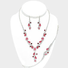 Glitzy Glamour rose pink crystal silver mesh neclace bracelet earring set 538