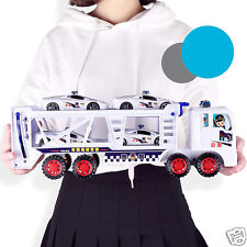 Best Gift!Plastic Dual Deck Police Trailer Carrier Truck With 4 Cars Kids Toys