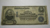 $5 1902 New Lexington Ohio OH National Currency Bank Note Bill! Ch. #6505 RARE!
