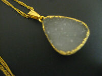 Pendant - Lovely  Green Druzy Agate on a Gold Filled Chain]