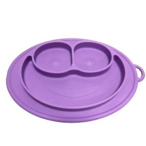 100% Silicone Non-Slip Built-in Placemats for Toddlers+ Kids, PURPLE