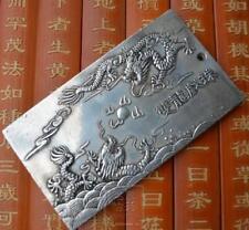 "Old Tibet Silver amulet Bullion statue thangka netsuke ""Double dragon"" 136g"
