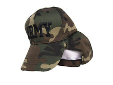 US Army Embroidered Lettering Woodland Camo Marpat Ball Cap Hat