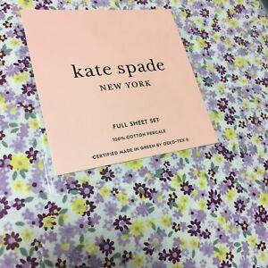 Kate Spade FULL Cottage Floral Purple Lavender Sheet Set 4pc Cotton Percale