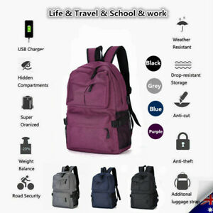 NEW Women Men Zipper Laptop Backpack Work School Travel Bags + USB Charging Port