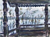 Aquarell Studie Blick von der Veranda auf den See im Sommer Aussicht 16 x 11,8