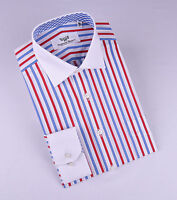 Red White Blue American Formal Business Dress Shirt Contrast Single Cuff Smart