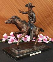 Signed Remington Cowboy Charges Bronze Sculpture Statue Figurine Figure Hot Cast