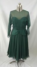 NOS Vintage Luis ESTEVEZ Green Evening Dress Formal Gown w/Original Tags Pretty