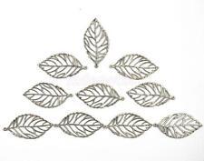 10x Silver Tone Metal Filigree Leaf Charms Pendants Jewelry Findings 50x25mm