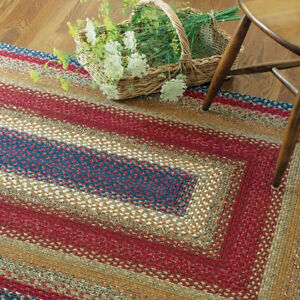 FARMHOUSE COUNTRY PRIMITIVE LOG CABIN STEP COTTON BRAIDED RUG ~ MULTIPLE SIZES