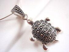 Marcasite Turtle Necklace 925 Sterling Silver Corona Sun Jewelry New