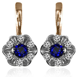 14k Solid Rose & White Gold Sapphire and Diamond Russian style Earrings #E1404