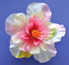 "5"" Pink & Cream Double Hibiscus Silk Flower Hair Clip Pinup Luau Tropical"