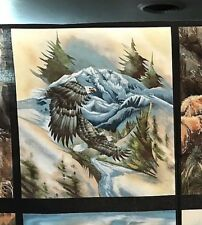 "Fabric Eagles Wildlife North American Mountain Summer Cotton Square 10""x11"""