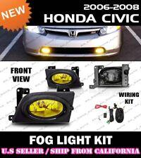 06 07 08 HONDA CIVIC 4dr Fog Light Driving Lamp Kit w/switch wiring (YELLOW)