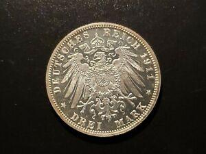 1911-D Bavaria 3 Mark Proof Reflective Fields