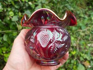Fenton Red Carnival Glass ACGA Inverted Strawberry Ruffled Rose Bowl.VGC.