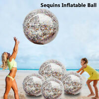 Inflatable Glitter Sequin Beach Ball Confetti Pool Water Play Games Kids Adults