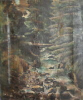 EUROPEAN RUSSIAN ANTIQUE OIL PAINTING FOREST RIVER