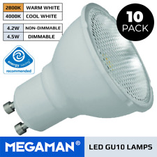 10 X MEGAMAN LED BULBS GU10 4.2W OR 5W DIMMABLE OR NON-DIMMABLE WARM/COOL 240V