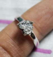 1.20 cts natural Gray Heart raw diamond ring, rough diamond sterling silver ring