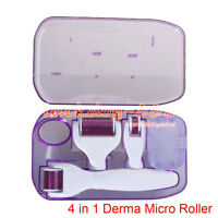 4 in 1 Derma Roller Set 0.5mm, 1.0mm, 1.5mm Titanium Micro Needles w/Travel Case