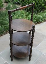 Antique English Oak Barley Twist Cake Muffin Pie Stand 3-Tier DisplayTable