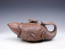Vintage Stone Crafted Teapot Carp Fish Wrapped In Lotus Leaf Shaped w/ Frog Lid