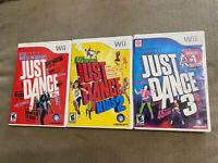 Lot of 3 Just Dance Video Games (Nintendo Wii, 2012) 1 / Kids 2 / 3 Complete