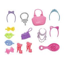 14x Blister Spielzeug für Barbie Halskette Tasche Schuhe Haarnadel für Pup HM