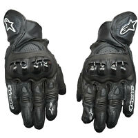 Alpinestars GPX Leather Motorcycle Motorbike Race Suede Reinforced Gloves Black