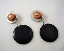 Vintage Bold BEN-AMUN Clip Back Dangle Earrings Large Black Abstract Disks