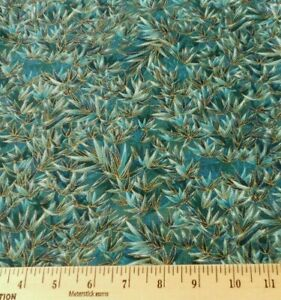 Japanese Print HOFFMAN Kimono BAMBOO Teal Green Gold Fabric Cotton Quilt  BTY