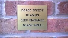 Brass Effect Plaque Memorial Bench Office Door Sign - Deep Engraved / Paint Fill
