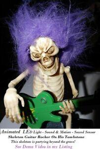 Halloween Animated LED Light Sound  Motion Skeleton Guitar Rocker partying