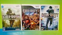 Call of Duty 3, Modern Warfare , World at War - Nintendo Wii 3 Game Bundle Lot