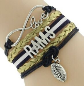 Los Angeles Rams Infinity Bracelet NFL Football With Football & Love Charms NEW