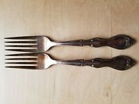 """2 VINTAGE COLLECTIBLE FORKS 7.25"""",VICTORS CO. A1+ OVERLAY,SILVER PLATED"""