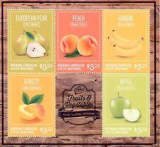 Grenadines Grenada 2014 MNH Fruits & Vegetables 5v M/S Pear Peach Banana Apple