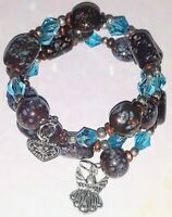 Memory Wire Bracelet with Brown w/Blue Glass Beads  Charm on ends FREE SHIPPING