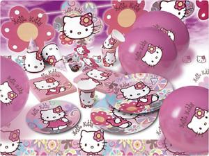 Hello Kitty Bamboo Partyset Kindergeburtstag Deko Mottoparty Teller Becher NEU