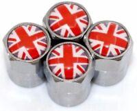 x4 GREAT BRITAIN FLAG RED Dust Caps Metal Chrome UK Valve Covers MINI Cooper MGF