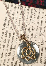 Outlander Silver and 22KT Gold Celtic Knot Heart Cross Scottish Irish Necklace