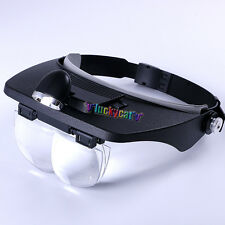 Dental Lab LED Head Light Loupe with 4 Lenses Light Glass Salon Magnifier